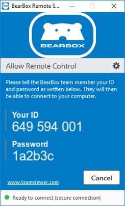 BearBox Remote Support application.