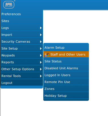 Menu - staff and other users.